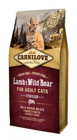 Carnilove sucha karma dla kota Lamb & Wild Boar for Adult Cats – Sterilised 6 kg