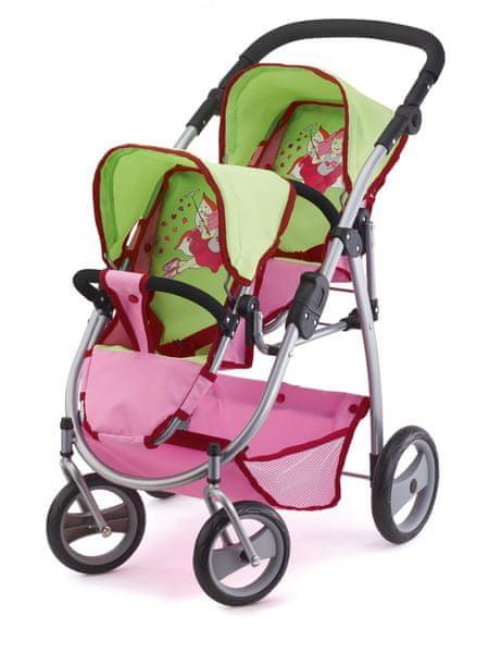 Bayer Design Kočárek pro panenky Twin Jogger, růžová/zelená - II. jakost