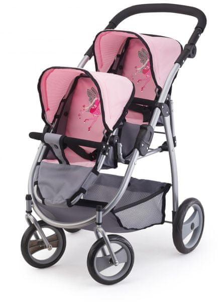 Bayer Design Kočárek pro panenky Twin Jogger šedá/fialová - II. jakost