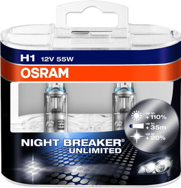 Osram 12V H1 55W P14.5s 2ks Night Breaker Plus