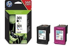 HP 301 dvojbalení černé/tříbarevné originální inkoustové kazety (N9J72AE )