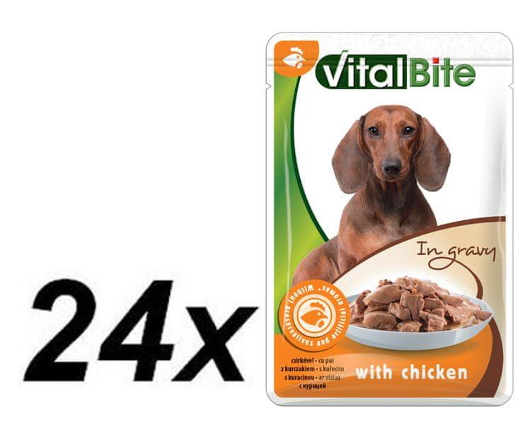 VitalBite Kapsičky kuřecí trhané kousky 24 x 85 g
