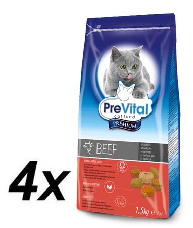PreVital sucha karma dla kota Premium z wołowiną - 4 x 1,5 kg
