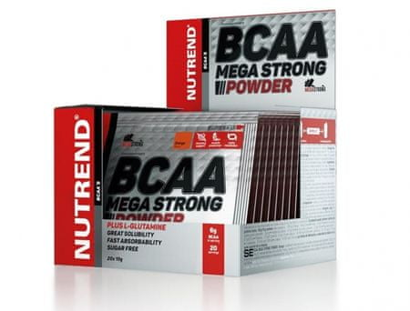 Nutrend Bcaa mega strong powder ananás aminokyseliny, 20x10 g