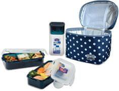 Lock&Lock Taška bodkovaná Lunch Boxes, modrá
