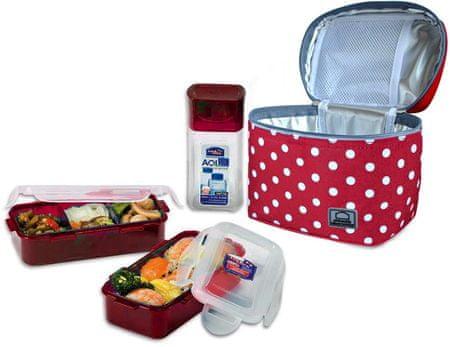Lock&Lock Ételhordó készlet táskával, Piros