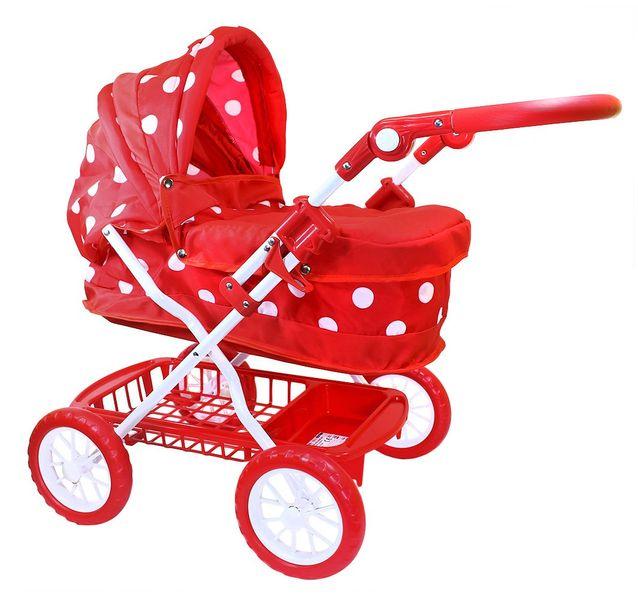 Rappa Kočárek pro panenky červený s puntíky