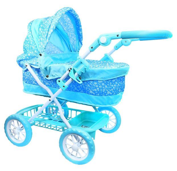 Rappa Kočárek pro panenky modrý s vločkami