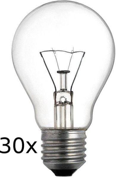 TES-LAMPS Žárovka čirá E27/60W-set 30 ks