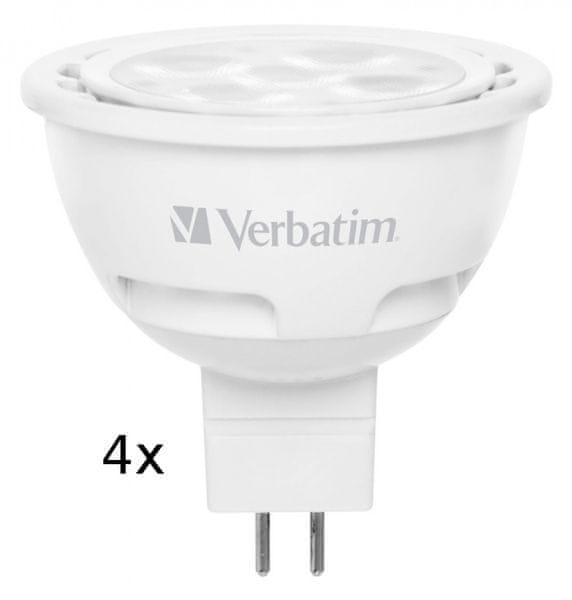 Verbatim LED žárovka GU5.3 4,5W 210lm (20W), typ MR16, 35°, teplá bílá 4ks/pack