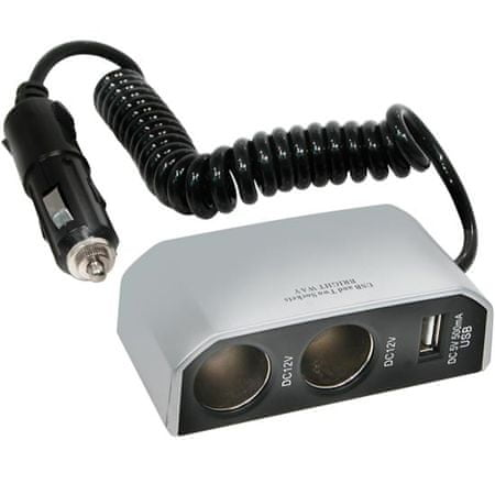 CarPoint HUB 2x 12 V z wyjściem USB