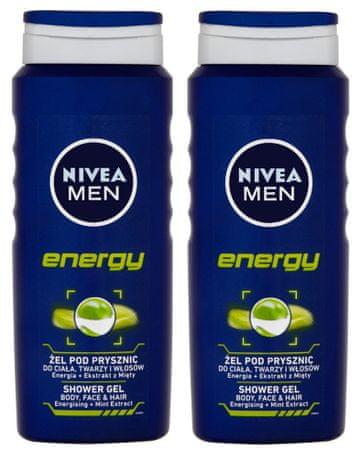 Nivea Men gel za tuširanje Energy, 2 x 500 ml