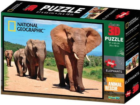 National Geographic 3D Puzzle Slony 500 dielikov