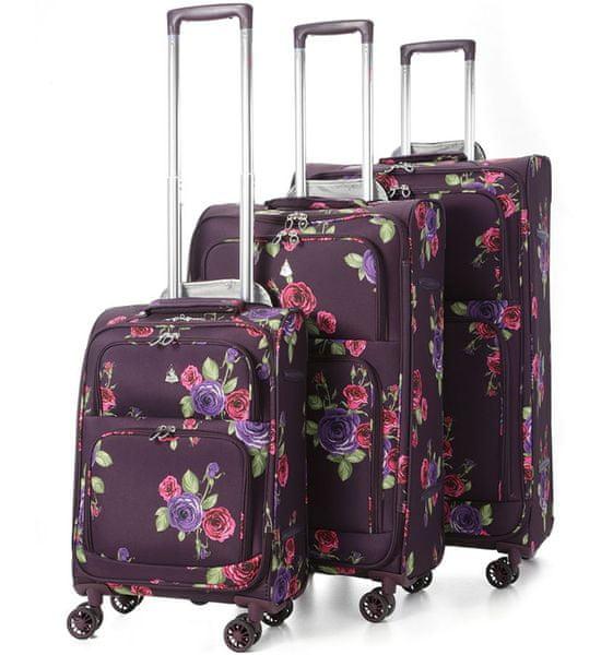 REAbags Aerolite Sada kufrů Floral Damson S, M, L