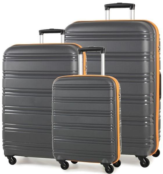 REAbags Cestovní kufry sada ROCK TR-0125/3 PP šedá