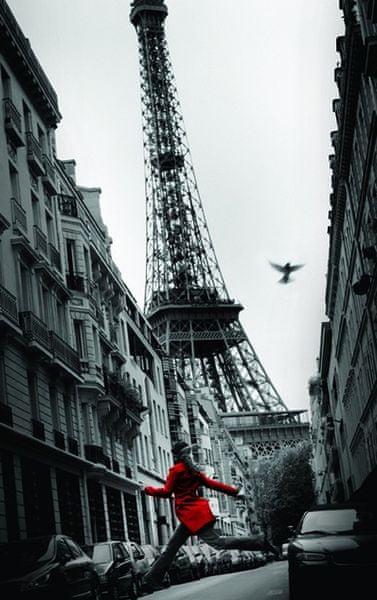 Postershop Fotoobraz Eiffelova věž s dívkou v červeném 51x81 cm