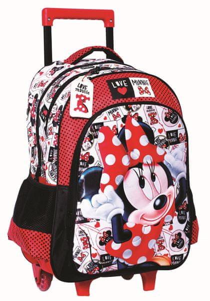 GIM Školní batoh na kolečkách Minnie - červený