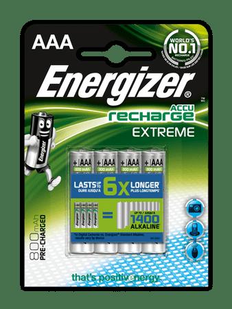 Energizer baterie NiMH Extreme AAA 800 mAh, 4 sztuki