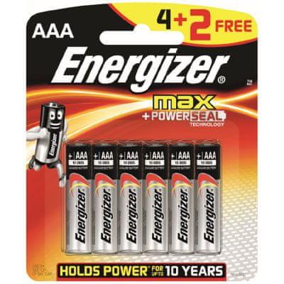 Energizer MAX AAA 4+2 zdarma, 6 ks