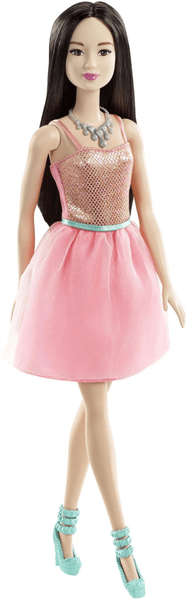 Barbie Panenka ve třpytivých šatech světle růžová