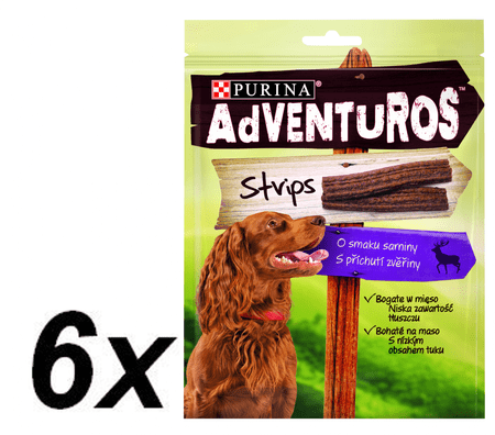 Purina ADVENTUROS Strips Jutalomfalat, 6 x 90g