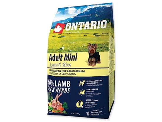 Ontario Adult Mini Lamb & Rice Kutyatáp, 2,25 kg
