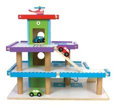 Jabadabado Duży drewniany garaż z windą, 3 samochody + helikoper