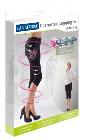 Lanaform hlače za hujšanje in oblikovanje postave z mikrokapsulam COSMETEX LEGGING 3/4, črne, L