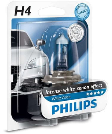 PHILIPS (12342WHVB1) WhiteVision H4 Autó izzó, 12 V, 60/55 W