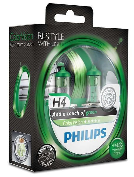 Philips ColorVision Zelená H4, 12 V, 60/55 W, 2 ks
