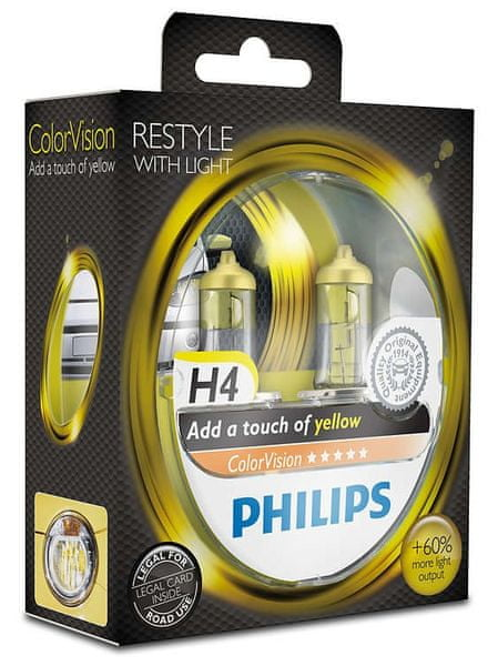 Philips ColorVision Žlutá H4, 12 V, 60/55 W, 2 ks