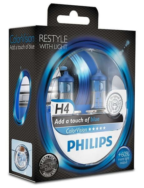 Philips ColorVision Modrá H4, 12 V, 60/55 W, 2 ks