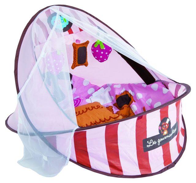 Ludi Cestovní postýlka / deka s hrazdou, růžová