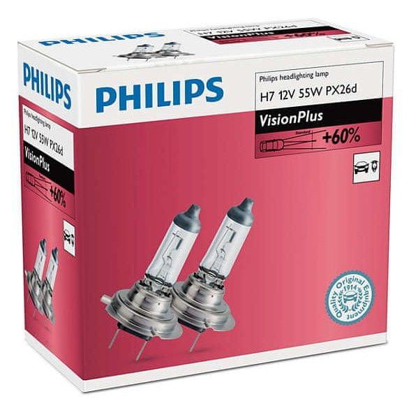 Philips VisionPlus H7, 12 V, 55 W, 2 ks