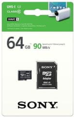 Sony microSDXC 64GB, 90 MB/s, UHS-I + adapter