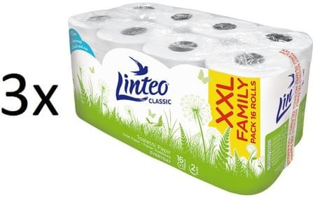 LINTEO Classic Toaletný papier 3x 16 roliek