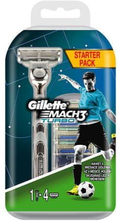 Gillette brivnik Mach3 Turbo Aloe + 4 glave + držalo