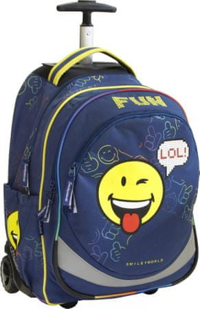 Smiley nahrbtnik s koleščki, modr