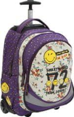 Smiley nahrbtnik s koleščki, vijolična/bela