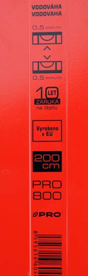 J.A.D. TOOLS vodováha MacHook PRO 200 cm, 3 libely, 2 úchyty, řada PROFI S800