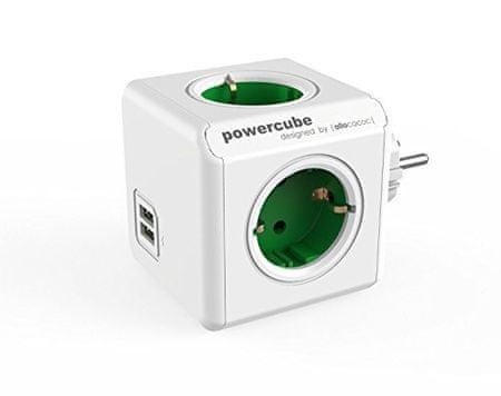 Allocacoc električni razdelilec PowerCube Original, USB, zelen