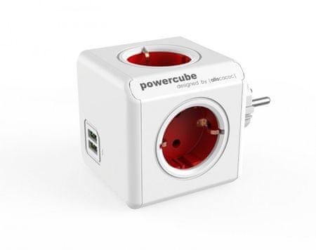 Allocacoc električni razdelilec PowerCube Original, USB, rdeč