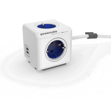 Allocacoc električni razdelilec PowerCube Extended, USB, moder