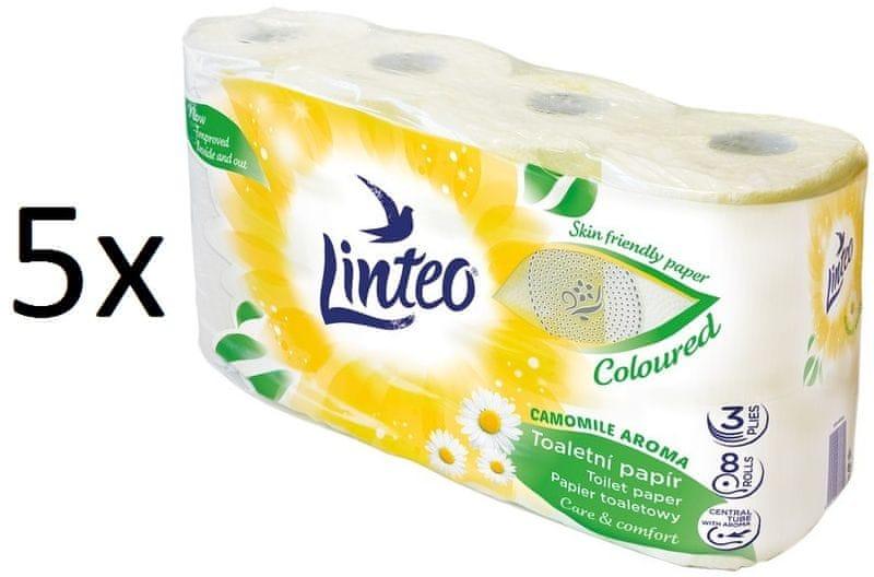 LINTEO Satin heřmánek Toaletní papír 5 x 8 rolí