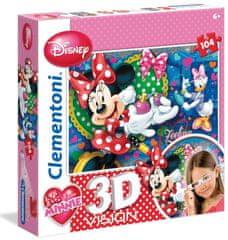 Clementoni Puzzle s 3D brýlemi Minnie 104 dílků