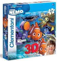 Clementoni Puzzle s 3D brýlemi Hledá se Nemo 104 dílků