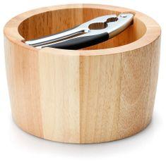 Continenta okrogla lesena skleda za luščenje orehov