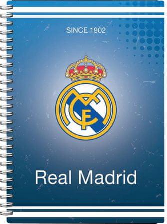 FC Real Madrid beležka s spiralo, PVC, 80-listna, 80 g papir