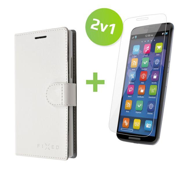 Fixed flipové pouzdro FIT, bílé + tvrzené sklo na displej, iPhone 6/6S, set 2v1