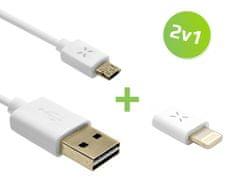 Fixed oboustranný microUSB datový kabel + Lightning redukce, bílá, set 2v1
